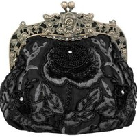 Amazon.com: Black Antique Beaded Rose Evening Handbag, Clasp Purse Clutch w/Removable Chain: Clothing