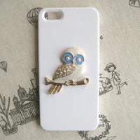 Steampunk Owl White hard case For Apple iPhone 5 case cover