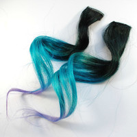 Coraline Blue / Ombre Human Hair Extension / Black Blue Purple / Long Tie Dye Colored Hair
