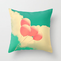 Happy Pink Balloons on retro blue sky  Throw Pillow by Andreka Photography | Society6