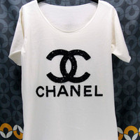 CHANEL T Shirts handmade crystal seed beads sequins sew fix