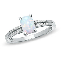 Cushion-Cut Lab-Created Opal and White Topaz Ring in Sterling Silver - View All Rings - Zales