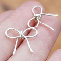 Bow Posts, Studs, Sterling Silver, Wire Earrings, Wire Jewelry