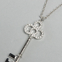 The Cinderella Platinum Plated Key Pendant Necklace