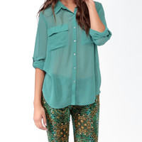 Sheer Button Tab Sleeve Shirt