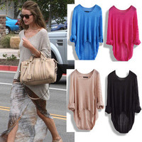 Casual Loose Asymmetric Knit Coat Top Sweater
