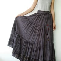 NO.25  Grey Cotton, Hippie Gypsy Boho Tiered Long Peasant Skirt