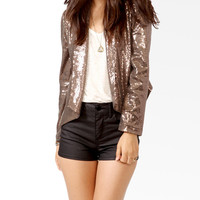 Sequin & Faux Leather Jacket