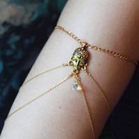 Gypsy Armlet, Chain Armlet, Gold Color Japanese Chain Armband, Gypsy Chain Armband