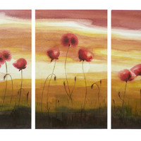 Triptych A FIELD OF POPPIES  Watercolor, Set of 3 Original Flower Paintings, Red and Orange Painting