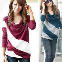 Korea Hot Women Lady Batwing Sleeve Free Dolman Neckline TEE Casual Tops T-Shirt