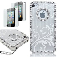 Amazon.com: Pandamimi Deluxe Silver Chrome Bling Crystal Rhinestone Hard Case Skin Cover for Apple iPhone 4 4S 4G With 2 Pcs Screen Protector and Silver Stylus: Cell Phones & Accessories