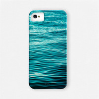 SALE iPhone 5 Case, iPhone 4 Case, Ombre Teal Aqua Water Beach Sea Ocean iPhone 5 Case Nautical Beach Blue iPhone 4 Cover - Gifts Under 45.