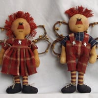 Primitive Doll Raggedy Annie and Andy Angel Set of 2 by Happy Valley Primitives SOCOFG