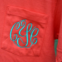 MONOGRAMMED Pocket Tee - Short Sleeve - Sorority Gift - Greek Lettering - Bridesmaid Gift