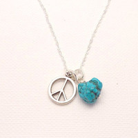 Peace Sign and Turquoise Nugget Necklaceyoga by charmeddesign1012