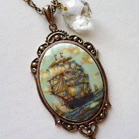 Tumultuous Seas Vintage Pirate Ship Cameo Necklace with Crystal Drop and loot on Antique Brass Rockabilly PinUp Steampunk