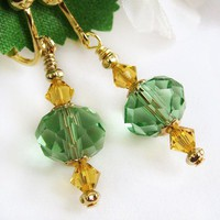 Green and Yellow Crystal Clip On Earrings, Gold Tone, Non Pierced