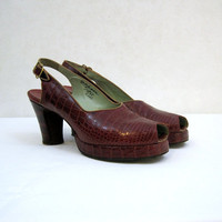 40s Shoes Vintage Red Alligator Slingback Platform Pumps Peep Toe 7 7.5 8