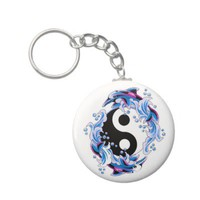 Cool cartoon tattoo symbol Yin Yang Dolphins Key Chains from Zazzle.com
