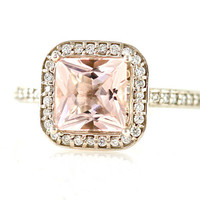 14K Princess Morganite Diamond Engagement Ring Morganite Ring Diamond Halo Custom Bridal Jewelry