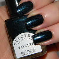 Black Nail Polish with Teal Sparkle TAYGETE