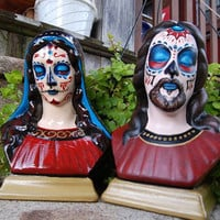 Original Day of the Dead Jesus Christ & Mary Busts by pluralform