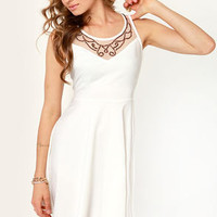 Regal Eye Beaded Ivory Dress