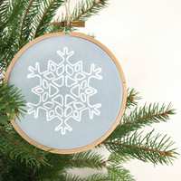 Christmas tree ornaments, Holiday decoration, Ornaments set of two (2) - White and blue wooden hoop Ornaments for Christmas