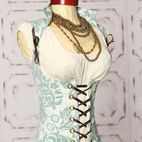 Waist  35 to 37 Teal Leaf Vixen CorsetREADY by damselinthisdress
