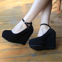 Fashion Sexy Women&#x27;s New Black Wedge Strappy Platform High Heel Buckle Shoes Hot