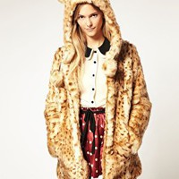 ASOS | ASOS Faux Fur Leopard Hooded Coat With Ears at ASOS