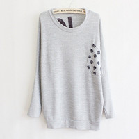 new Korean ladies skull Pocket long sleeve shirts leisure fashion knitting by ClothLess