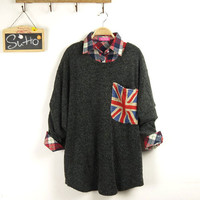 words printed pockets long sleeves round neck knit batwing coat