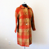 Vintage 60's Woolen Plaid Coat Sz S