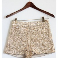 High Waist Gold Sequin Shorts
