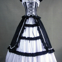Free Shipping Lolita one piece Sleeveless Long Black &amp; White gothic victorian ball gowns-in Evening Dresses from Apparel &amp; Accessories on Aliexpress.com