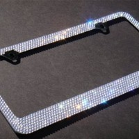 Amazon.com: Bling 7 Rows White/Clear (A-Style Screw Cap) Diamond Rhinestone Metal Chrome License Plate Frame