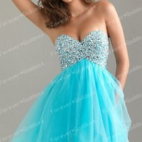 Womens/ Teenage 2012 Short Mini Party/Evening\Prom/Cocktail Turquoise Dress Sz 6