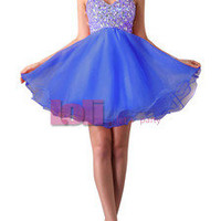 Lovely Sweet Shining Bead Sequins Mini Short Cocktail Gown Evening Prom Dress