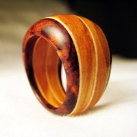 Olivewood and Cocobolo Tapered Wood Ring