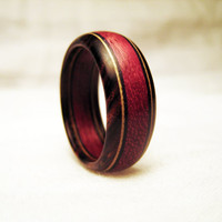 Purpleheart Wood Ring With Cocobolo and Veneer