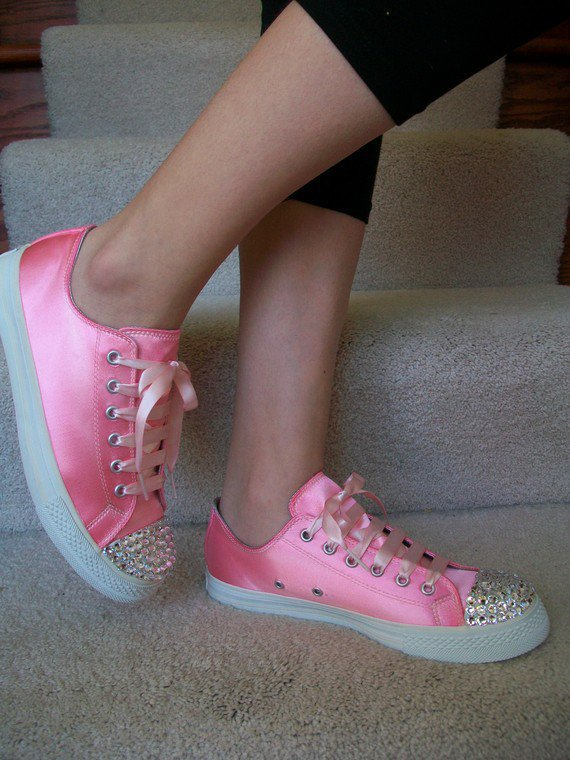 Pink Shoes SALE Wedding Converse Tennis Shoes Crystal by Parisxox