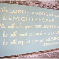 Mighty To Save- Christian Wall Decor - Antiqued Inspiration Sign - Ocean Blue