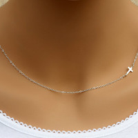 Small Sideways Cross Necklace, Sterling Silver, Tiny,Petite,Off Centered Cross,Celebrity Inspired,Faith,Religious