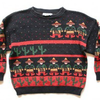"Shop Now! Ugly Sweaters: ""Space Invader Mariachis"" Vintage 80s Tacky Ugly Sweater Women's Plus Size 2X $35 - The Ugly Sweater Shop"