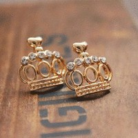 Golden Crown Fashion Earrings | LilyFair Jewelry