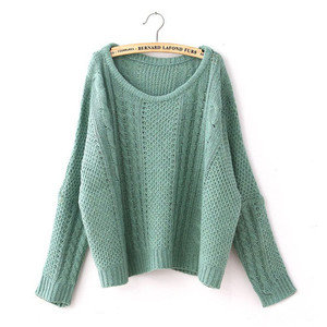 Women Retro Bat Wing Loose Scoop Neck Knit Pullover Sweater Jumper Tops Green