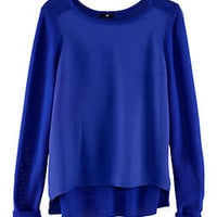 H&amp;M *SATIN FRONT* LOOSE KNIT JUMPER PEACOCK BLUE UK 6-8 XS BNWT