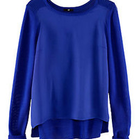 H&M *SATIN FRONT* LOOSE KNIT JUMPER PEACOCK BLUE UK 6-8 XS BNWT